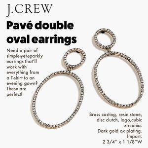J.Crew Pavé double oval earrings